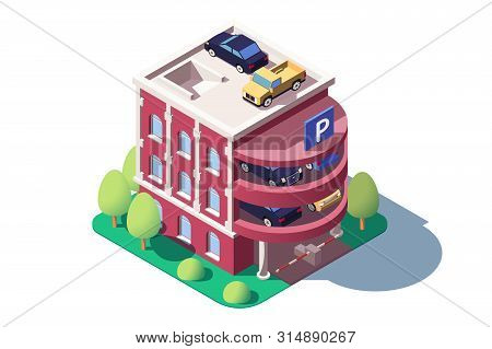 3d Isometric Cars Using Multi Level Parking. Concept Isolated Vehicle Standing On Public Building, S