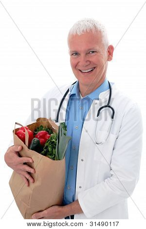 Doctor With  Vegetables In A Bag