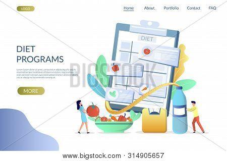 Diet Programs Vector Website Landing Page Design Template