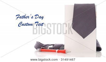 Fathers Day Concept With Tie On Greeting Card And Space For Custom Text