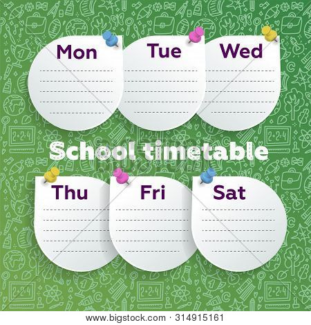Weekly Planner With Smart Design - Round Sheets Pushpined On Green Calkboard With School Supplies Do