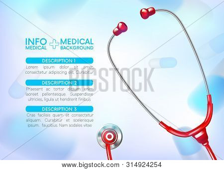 Medical Infographic Background With Stethoscope And Painkillers, Antibiotics. Medicine Stethoscope I