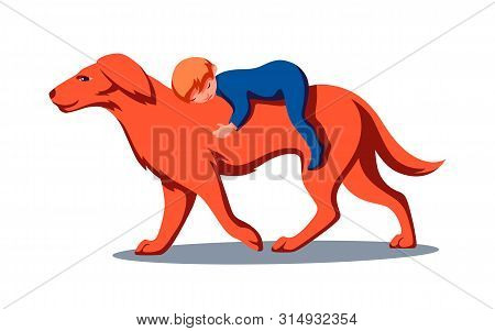 Golden Retriever Dog With Baby Boy On The Back. Pet Cares For The Child As A Bodyguard. Vector Moder
