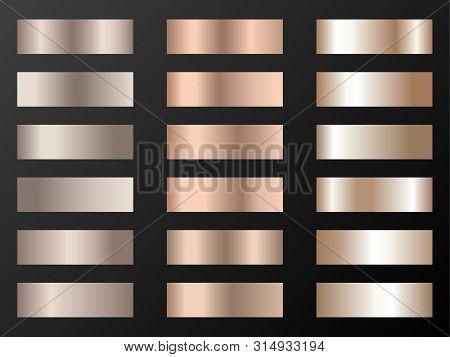 Vector Mega Set Of Copper Bronze Gold Gradients. Metallic Foil Texture Trendy Gradient Templates. Sh