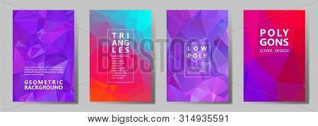 Facet Triangles Vibrant Brochure Covers Vector Graphic Design Set. Crystal Texture Polygonal Pattern