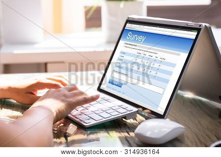 Businesswoman Filling Survey On Laptop