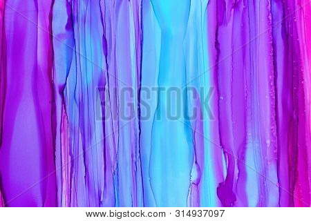 poster of Purple, blue and pink watercolor texture background. Hand drawn sky blue blurred daubs abstract backdrop, palette of pink colors, gradients. Vibrant alcohol ink smears and brushstrokes wallpaper