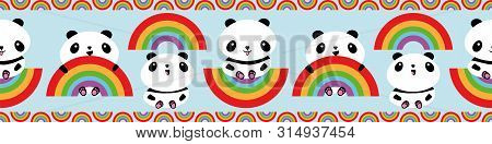 Cute Kawaii Style Laughing Pandas And Rainbows Border Design. Seamless Vector Pattern On Sky Blue Ba