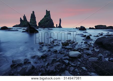 Amazing Landscape With Basalt Rock Formations Troll Toes On Black Beach Reynisfjara Near The Village