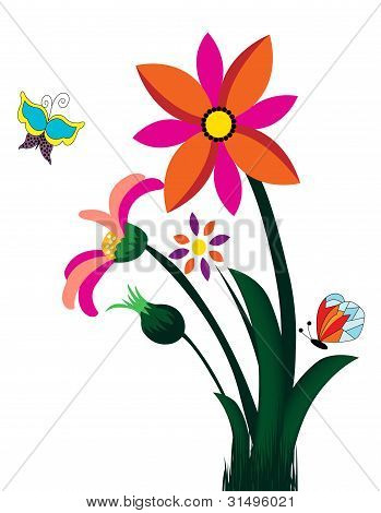 Illustration of colorful flowers isolated on white