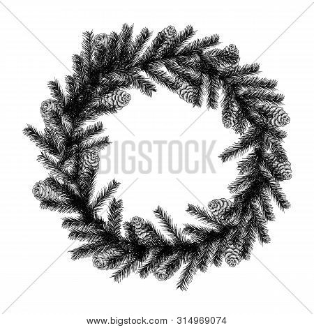 Christmas Wreath In The Style Of A Sketch Of A Christmas Tree And Cones Isolated On White Background