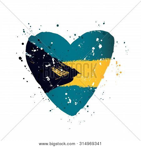 Bahamas Flag In The Form Of A Big Heart. Vector Illustration On A White Background. Brush Strokes Ar
