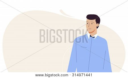 A Young Man Stands Alone And Looks Away. Modern Flat Illustration. Vector