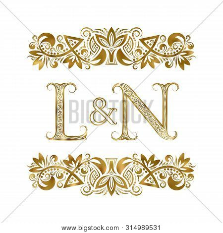 L And N Vintage Initials Logo Symbol. The Letters Are Surrounded By Ornamental Elements. Wedding Or