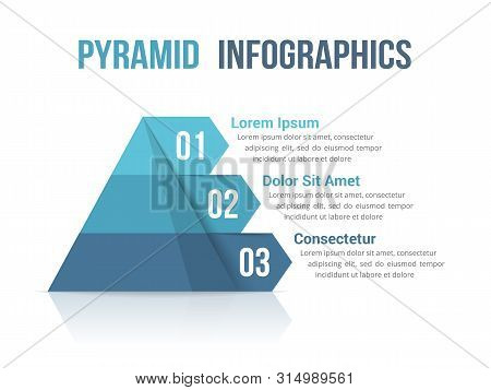 Pyramid With Three Segments, Infographic Template For Web, Business, Reports, Presentations, Etc, Ve