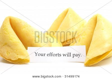 chinese fortune cookie whit label isolated on a white background poster