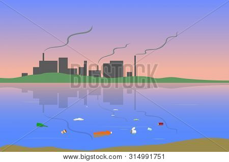 Toxic emissions from factory smokestacks. Floating litter on water surface. Vector illustration. poster