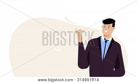 Businessman Smiles And Looks At His Hand. Corporate Illustration Vector