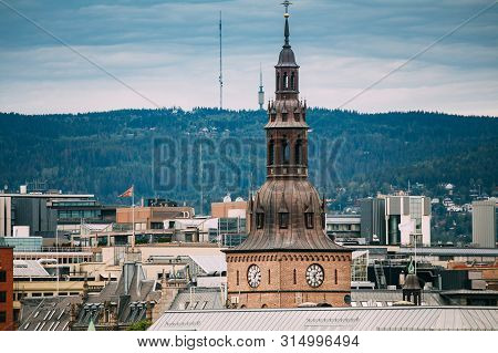 Oslo, Norway. View Of Oslo Cathedral In Norway, Formerly Our Saviors Church In Skyline.
