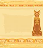 Stylized Egyptian cat  on the old paper poster