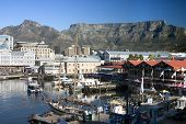 Photograph of Quayside, Cape Town, South Africa with Table mountain in the background poster