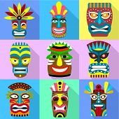 Zulu mask icon set. Flat set of 9 zulu mask vector icons for web design isolated on white background poster