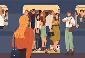 Young woman trying to enter subway train car full of people. Overcrowded underground or metro. Problem of city overpopulation and urban transportation. Flat cartoon colorful vector illustration. poster