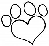 Outlined Heart Shaped Dog Paw Print Cartoon Character poster