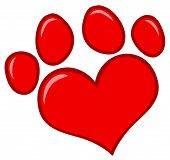 Red Heart Shaped Dog Paw Print Cartoon Character poster