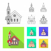 Isolated object of cult and temple symbol. Set of cult and parish vector icon for stock. poster