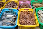 Dry fish on sale in a Bangkok market poster
