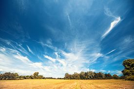Countryside Landscape With A Dramatic Blue Sky Over Dry Fields In The Late Summer