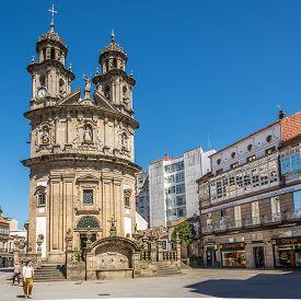 Pontevedra,spain - May 14,2019 - View At The  Church Of Virgin Mary In Pontevedra. Pontevedra Is A S