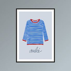 Blue And Red Striped T-shirt And Handlettered Word Voila, French For Here It Is.