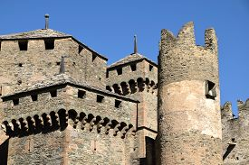 Detail Of The Towers Of A Castle From The Middle Ages In Italy