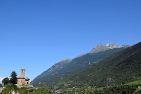 Panoramic View Of The Medieval Castle Of Sarre Surrounded By The Alps - Italy