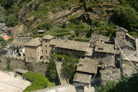 The Roofs Covered With Slate Slabs From The Small Village Of Bard In Aosta Valley - Italy