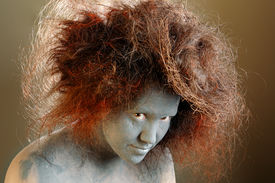 Woman With A Nest In Hair