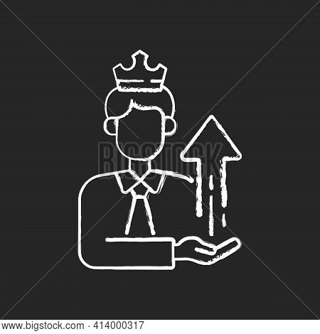 Power Broker Chalk White Icon On Black Background. Increase Influence From Assistance. Gain Patronag