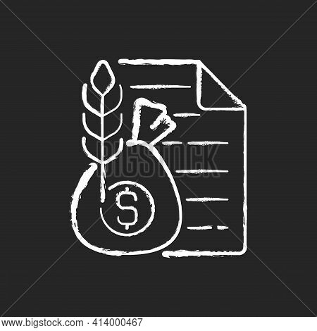 Commodity Broker Chalk White Icon On Black Background. Business Contract. Trading Deal For Agricultu