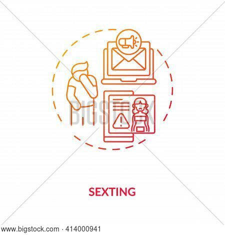 Sexting Culture Concept Icon. Sending Nude, Naked Pictures To Partner Ideas Thin Line Illustration.