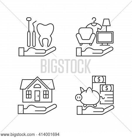 Insurance And Protection Linear Icons Set. Dental Care. Property Coverage. Repairing, Rebuilding Hou