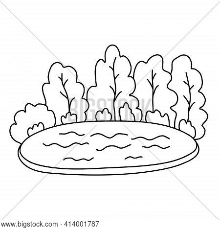 Lake Surrounded By Forest. Summer Landscape. Hand Drawn Vector Illustration In Doodle Style On White