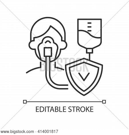 Critical Illness Insurance Linear Icon. Medical Emergencies Costs. Strike, Cancer, Paralysis. Thin L