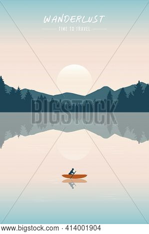 Canoeing Adventure With A Red Boat On The Lake Summertime