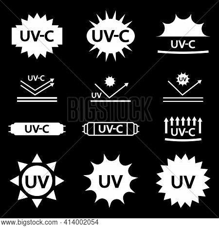 Uv Sterilization Stamp. Protection From Uv-c Radiation. Badge Set For Ultraviolet Sterilization. Ult