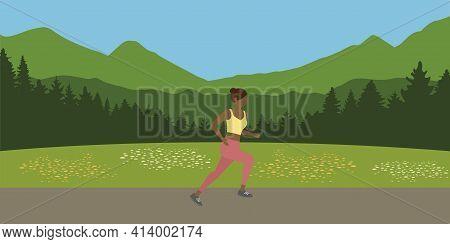 Jogging Sporty Girl On Summer Mountain Landscape