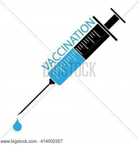 Medical Syringe With Vaccine. Covid-19 Coronavirus Vaccination Concept