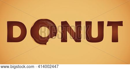 Tasty Choco Donut Typography With Bitten Donut
