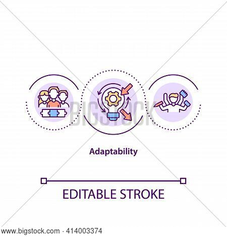Adaptability Concept Icon. Successful Handling Environment Changes Idea Thin Line Illustration. Soft